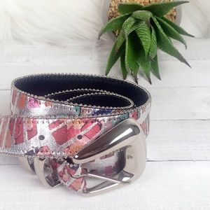 Accessories - Artsy Abstract Silver Color Beaded Leather Belt
